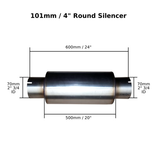 """Bore 2/"""" 3//4 70mm 5/"""" x 22/"""" Clamp On Stainless Steel Silencer Exhaust Box Body"""